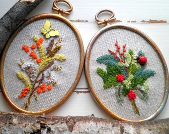 Woodland Embroidery Bohemian Wall Art Set - Flowers & Insects Vintage Crewel Embroidered Floral Garden Retro Nature Home Decor Holiday Gift