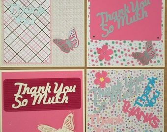 Handmade Thank You cards, card to say thanks, thankyou cards, snail mail, letter writing, note cards, notelets, pink thank you cards