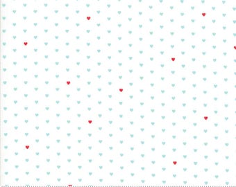 "Moda ""The Good Life"" by Bonnie and Camille ~ WHOLE HEART ~ Cream Aqua 55154 12  ~ Tiny Hearts ~ Half Yard Increments"
