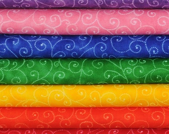 "Moda Basics ""MARBLE SWIRLS""  ~ Rainbow Fat Quarter Bundle ~ 7 Fat Quarters"