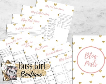 Blog Posts planner -  Printable planner inserts - pink and gold planner inserts for bloggers/entrepreneurs - girl boss blog planner