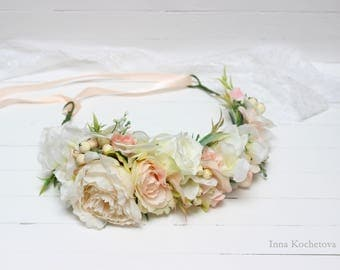 Ivory peony White peach flower crown Floral crown Flower halo  Wedding flower crown Flower crown Floral head wreath Bridal flower crown