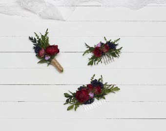 Marsala blue wedding Flower accessories Floral comb Boutonniere Bridal Bridesmaid headpiece Floral accessory Hair comb Groomsmen Burgundy