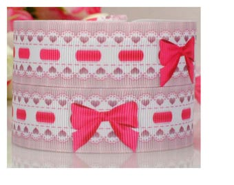 5 meters of liberty Ribbon, bows, pink, fuchsia and white 22 mm