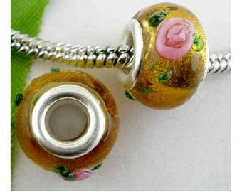 Set of 2 glass lampwork beads 14 mm x 10 mm pink flowers Brown