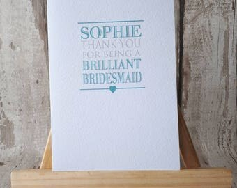 Bridesmaid, Maid of honour, personalised, Wedding Party, Thank you card
