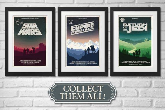 Star Wars Trilogy Movie Poster Illustration / Star Wars / Empire Strikes Back / Return of the Jedi / ***Bundle Discount***
