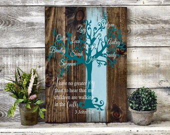 "Custom Painted Family Tree Wood Sign 22""x14"""