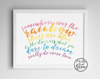 """Pastel Rainbow Printable, """"Somewhere Over the Rainbow"""" Wall Art, Watercolor Wizard of Oz Quote, Kids Wall Art 8x10 & 11x14 INSTANT DOWNLOAD"""