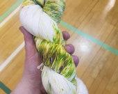 Hand dyed yarn Creeper -  hand dyed sock yarn - sock yarn - variegated yarn - speckle yarn - crochet yarn - geek yarn - hand painted yarn
