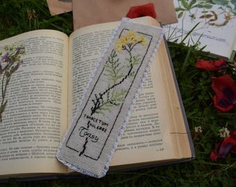 Embroidered bookmark 'Tansy'
