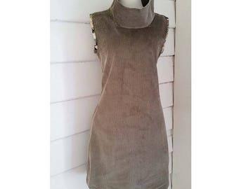 Womens Corduroy Gray Dress Cowl Neck Dress Winter Dress Tunic Dress Shift Dress Medium Dress  Inseam Pocket Dress Grey Australian Made Dress