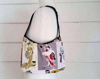 Women's Shoulder Bag Japanese Cotton Australian Made Small Bag Black Corduroy Bag Handbag Top Handle Small Bag Australian Made Corduroy Bag