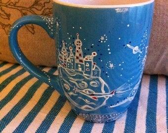 China Blue space themed mug