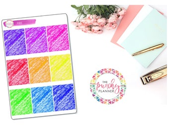 Crayon Scribbles Full Box Stickers // Full Box Functional Stickers for use with ERIN CONDREN LIFEPLANNERTM