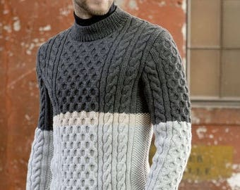 Men's sweater,sweater for men,gray sweater, pullover,warm sweater, sweater with braids, sweater in 2 colors, order a sweater, a gift for him