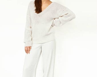 Oversize sweater,mohair sweater, knitting sweater, pullover to order, fashionable sweater, white sweater, sweater, sweater to order