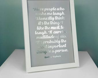 A4 Audrey Hepburn Print - Audrey Hepburn Poster - Audrey Hepburn Motivational Quote Print - Inspirational Quote Print - Silver Foil Print