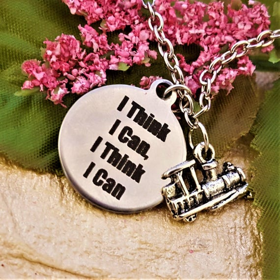CrossFit Jewelry, Fitness Charm Necklace, The Little Engine That Could Charm, Inspirational Words, Fitness Gift, Motivational Quotes Charms
