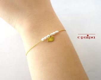 Gold bird bracelet, Real Freshwater Pearls, 18K Gold Filled sterling silver bird, Minimal Bracelet, Top Christmas Gift