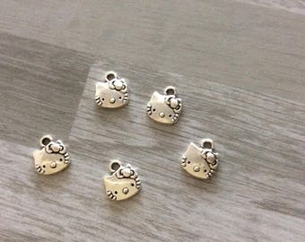 set of 5 Silver cat charm Hello kitty