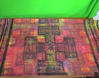 Mid century red print drapery fabric