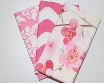 SALE - 3 Fat Quarters - pink - cotton fabric