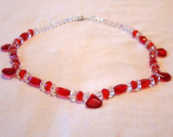 "Red Beaded Necklace / 19"" / Valentine's Day Gift for Her / OOAK / Pretty / Unique / Sparkly"