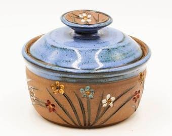 Flower Butter Keeper, 1 1/2 Sticks | European Butter Keeper | Butter Bell | Butter Crock | Pottery | Ceramic | Stoneware | Handmade Pottery