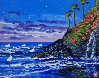 Oil painting night, beach art canvas, seascape oil paintings for sale, by Ryan Kimba