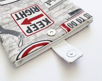 Vintage Unisex Kindle Cover/ eReader Case: Grey and Red Fabric with Classic Cars & Road Signs - Can be custom made for any e-reader