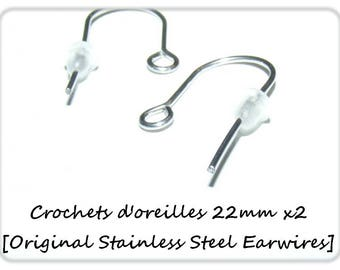 Hook earrings 22mm x 2 [Original Stainless Steel Earwires.