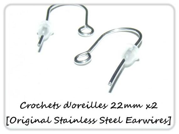 Hook earrings 22mm x 2 [Original Stainless Steel Earwires.