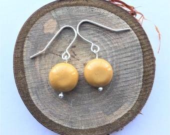 Dainty earrings, delicate earrings, mustard yellow earrings, mustard yellow earrings, mookaite earrings, handmade earrings, small earrings