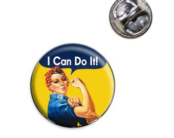 Rosie The Riveter I Can Do It Lapel Hat Tie Pin Tack