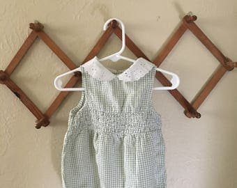 Sage Green and White Gingham romper