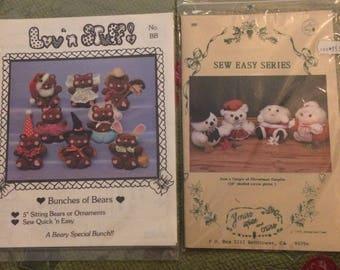 2 Christmas stuffed bear and Santa patterns