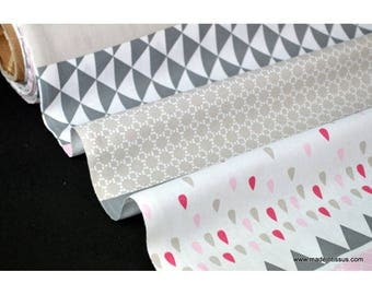 Fabric design stripes printed cotton Poplin geometric x50cm
