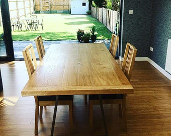 Oak dining table, dining table, handmade dining table, large dining table, custom made dining table, steel legged dining table