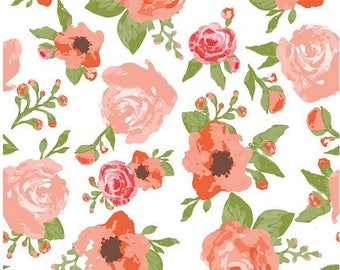 Floral Cotton Fabric - Coral Pink, Green, White Modern Flower Rustic Elegance Main White - Riley Blake Designs - Carta Bella - Floral Fabric