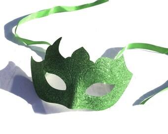 Green Glitter Venetian Masquerade Mask Poison Ivy Halloween Fancy Dress Costume