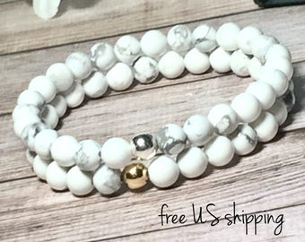 White Howlite Beaded Bracelet, Beaded Bracelets for Women, Bead Bracelet Women, Womens, Silver, Gold, DreamCuff, Free Shipping Jewelry