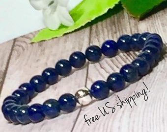 SALE Lapis Beaded Bracelet, Beaded Bracelets for Women, Blue Bead Bracelet Women, Womens, AAA 6mm Lapis, DreamCuff, Free Shipping Jewelry