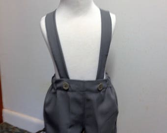 Boys medium grey shorts, boys suspender shorts, ring bearer shorts, available to order 12 mo, 18 mo, 2t, 3t, 4t, 5t ,6