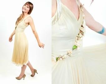 1930s / 1940s As Is Ivory Flower Princess Dress - XS / XXS