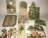Lot of Victorian Era Pop Up Cards Die Cuts Paper Pieces Scraps Mixed Media Collage Paper Crafts Art Embellishments Edwardian
