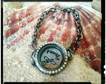 Stamped Glass Locket - Chain Bracelet -  Choose from Silver, Rose Gold or Gun Black Finish -Choose Your  Custom Backplate//Charms//Finish
