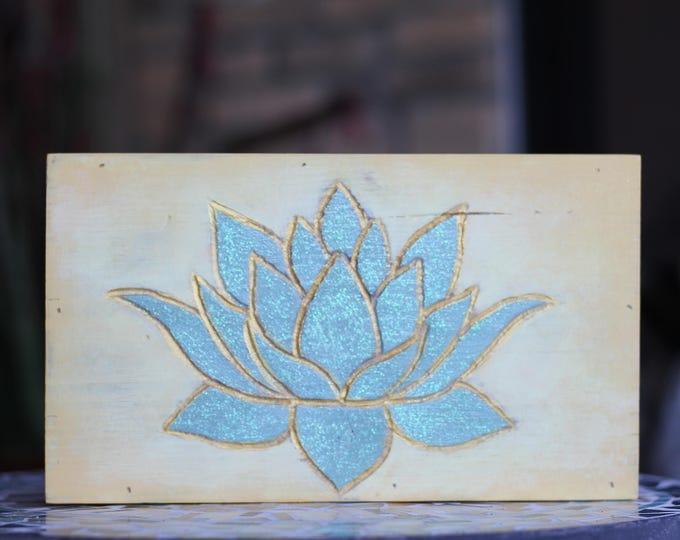 Handcarved Sage Glitter Lotus Flower Wood Wall Hanging