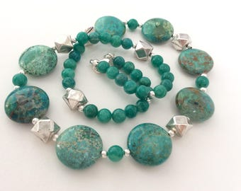 Chrysocolla and Sterling Silver Gem Necklace