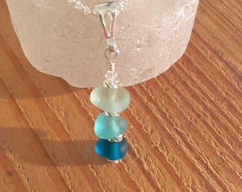 Blue sea glass sterling silver drop pendant necklace